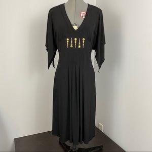 Kenar black knit v-neck dress brass detail M